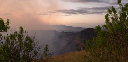 Picture: Sunset looking over the Masaya Volcano Crater