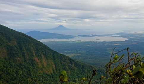 View of Isla Ometepe and Conception Volcano from Mombacho Volcano