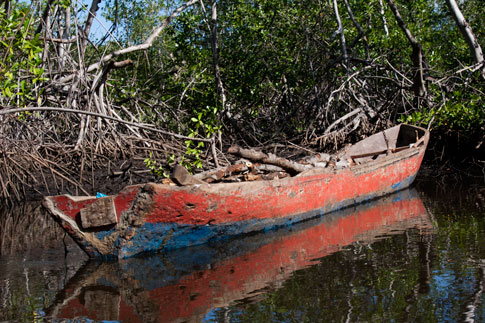 Juan Venado Nature Reserve, boat carrying wood