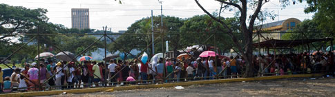 People lined up for La Griteria festival in Managua, Nicaragua