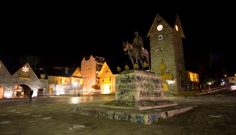 Town Square at night in the city of San Carlos de Bariloche, Argentina
