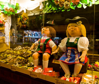 Chocolate shop window display in San Carlos de Bariloche, Argentina