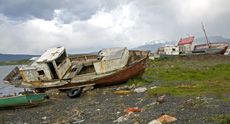 Wrecked ships in Puerto Natales