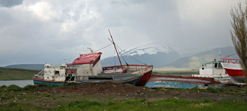 Beached fishing vessels, Puerto Natales
