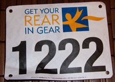 Get your rear in gear 5k race bib