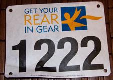 Get your rear in gear 5k race bib