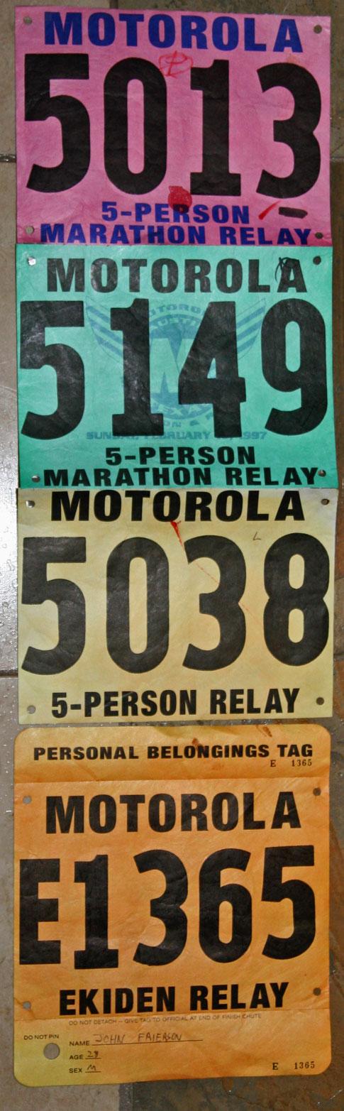 Motorola Marathon Relay bib