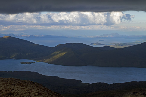 View of Lake Rotoaira & Lake Taupo from Ketetahi Hut, Tongariro National Park, New Zealand
