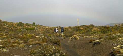 Slight Rainbow with typical Weather on Day 4 of Tongariro Northern Circuit tramp